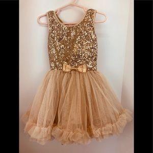 Gold Fancy Girl 2/3 Dress Tulle Glittery Sparkle